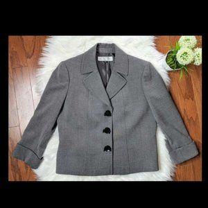 Tahari Women's Gray Blazer, Small Bows  Sz 6P